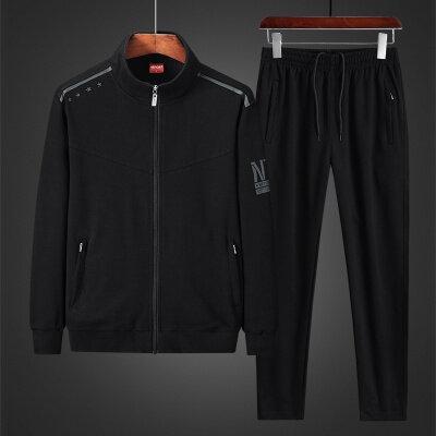 秋冬2020新款两件套中老年运动套装休闲运动服男L-5XL