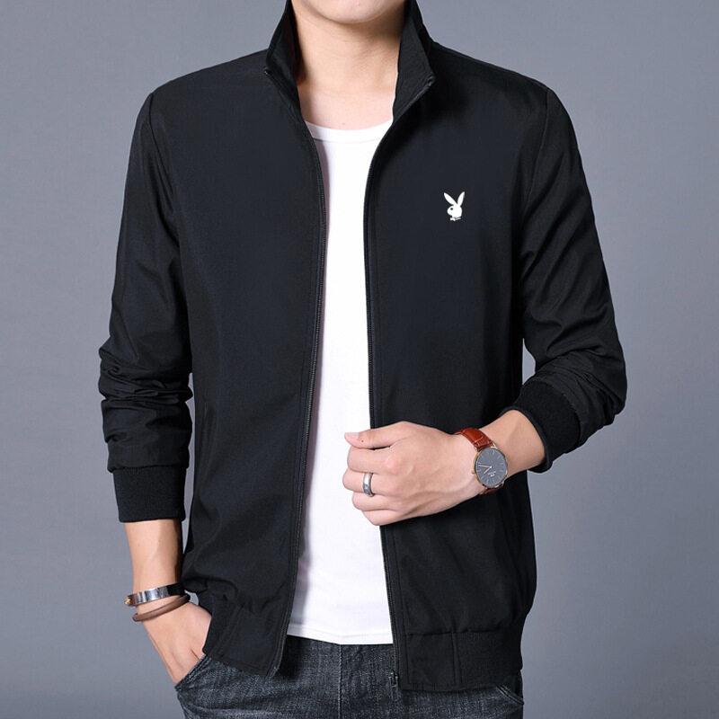 夹克外套男2020年潮牌秋季新品时尚黑色夹克印花立领休闲潮流外套