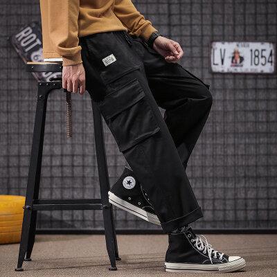 秋季裤子工装裤男潮牌宽松大码韩版潮流运动哈伦男士休闲裤薄