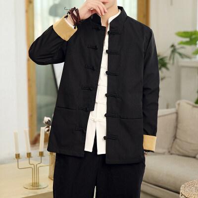 0697^唐装男装青年中国风复古盘扣刺绣外套中式改良男装民族汉服