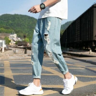 夏季新景外景江边薄款破洞牛仔裤松紧日系大码港风k5260P55