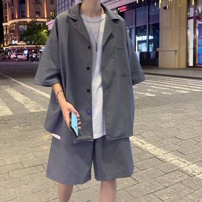 夏季休闲短袖套装男港风七分袖衬衫外套潮流宽松五分短裤KT43 P55