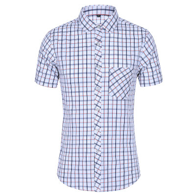 QT5012衬衫格子短袖大码男衬衫短袖上衣A35-P32镂空 2色