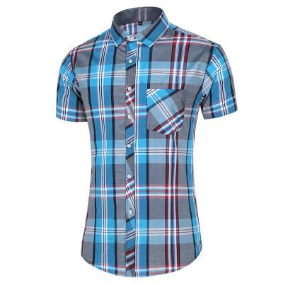 2021新款衬衫格子百搭短袖加大码男衬衫短袖上衣A36-P32 2色