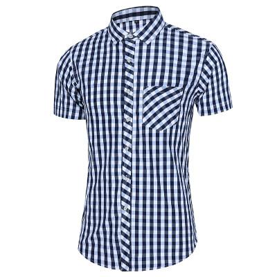 夏季新款外贸衬衫格子短袖加大码男衬衫短袖上衣A32-P32镂空图