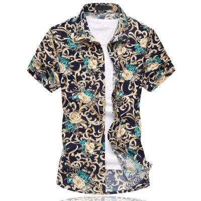 2021夏季大码男短袖花衬衫弹力花衬衫短袖货号663p30