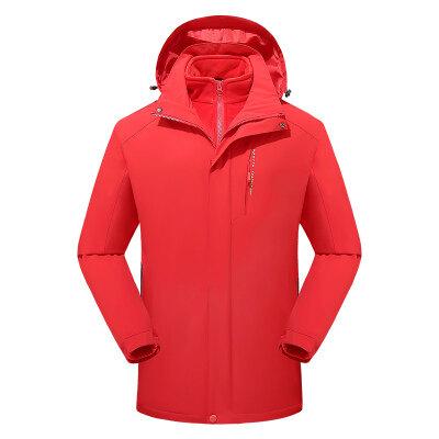 户外秋冬季潮牌冲锋衣女三合一可拆卸两件套加绒加厚男登山服