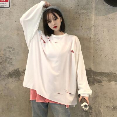 实拍 (棉) 假二件 春秋新款长袖T恤女破洞中长款潮上衣