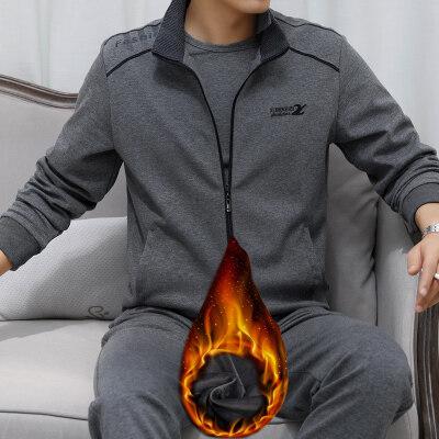 2020新款中年爸爸秋冬装加绒休闲运动套装两件套L-5XL