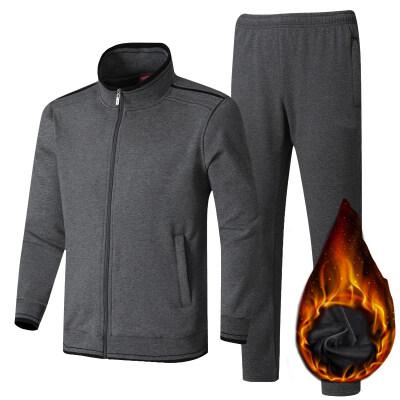 加绒加厚纯棉中老年运动服男士休闲时尚套装爸爸男装宽松大码