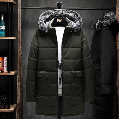 2020新款保暖中长款连帽可拆卸大码休闲羽绒棉衣M-8XL