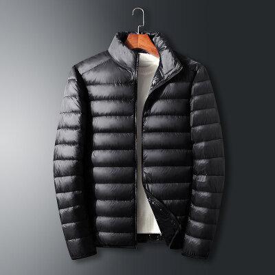 秋冬新款时尚立领外套男士轻薄羽绒服短款潮流休闲百搭50白鸭绒