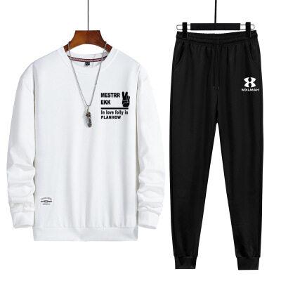 卫衣套装男士2020新款时尚潮牌卫衣长裤秋冬季青年印花圆领套头衫