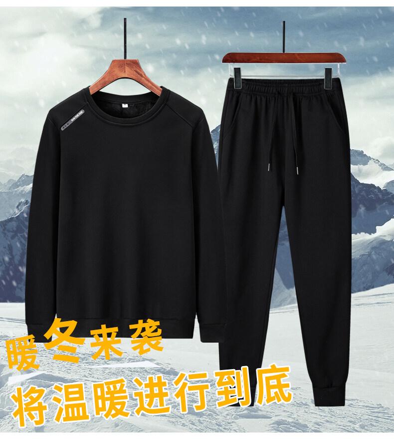 73232020新款纯棉加绒圆领卫衣休闲运动套装束脚长裤M-4XL