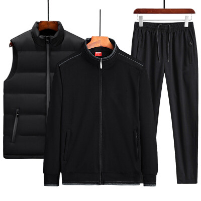 2020新款棉质中老年运动套装男休闲长裤马甲三件套L-5XL