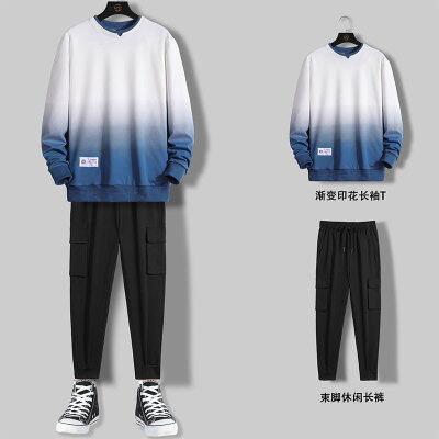 圆领卫衣男渐变色休闲套装2020秋季新款韩版潮流搭配男装一套衣服