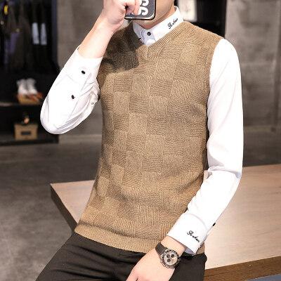 2020秋季新款羊毛衫男衬衫领韩版修身帅气青年休闲针织毛衣