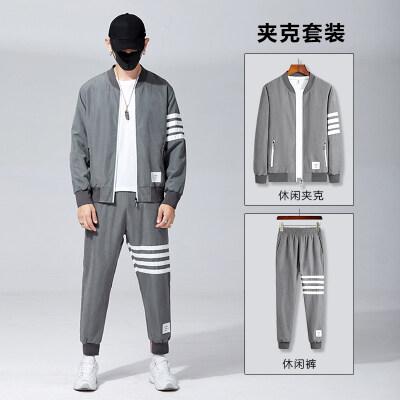 2020新款男春秋季休闲三条杠运动服秋装两件套