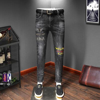 新款精品男士印花烫钻弹力修身小脚牛仔裤QT3020-389-p65