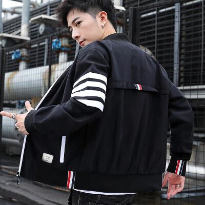 2020新款男春秋季休闲三条杠夹克外套