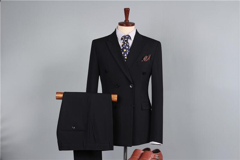 9892-SP男士休闲西服套装两件套双排扣小西装修身青年男装结婚礼服