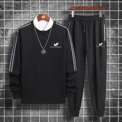 2020秋季新款富贵鸟纯棉圆领印花套装青少年休闲运动套圆领外