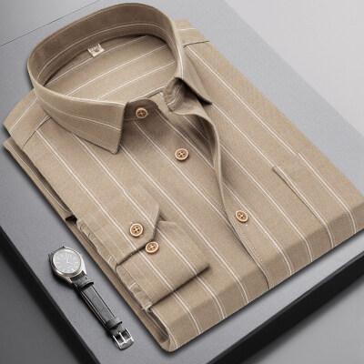 20秋冬韩版条纹长袖衬衫男士商务休闲衬衣青少年帅气修身寸衫潮