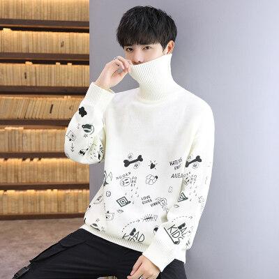 2020秋季新款羊毛衫男高领韩版修身帅气青年休闲针织毛衣
