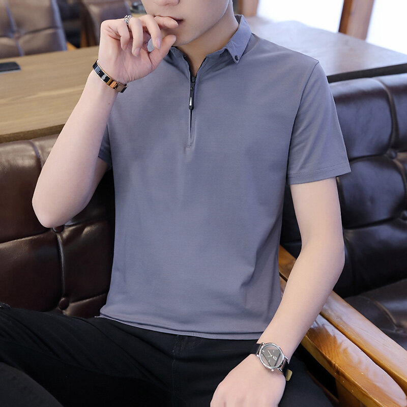T1182020新款立领纯色短袖POLO衫纯棉T恤男夏装有领宽松带领