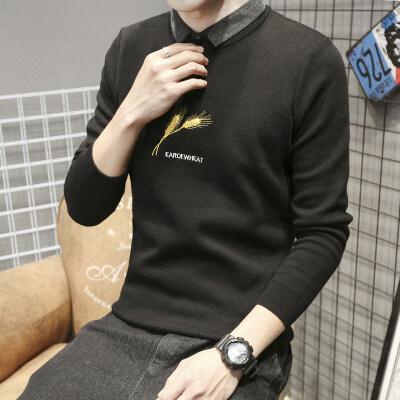 JW139D^男士纯色打底针织衫2020秋冬季圆领薄款 衬衫领85 控价118