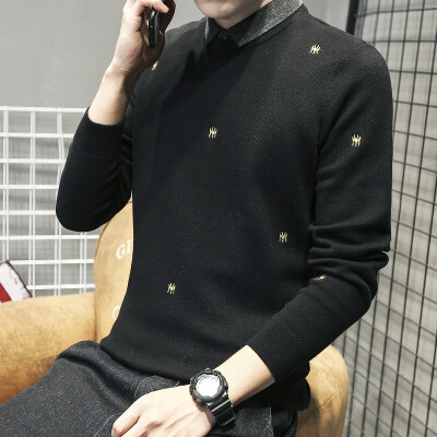 JW139A^秋冬圆领毛衣男宽松针织衫男士打底衫毛衫衬衫领85控价118