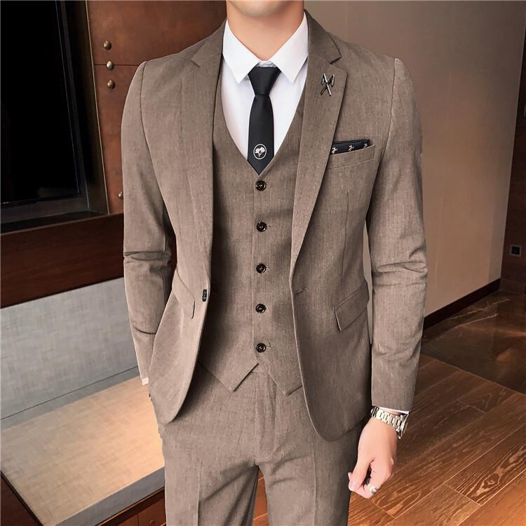 XF8204西服套装男士三件套韩版修身小西装职业正装伴郎服装新郎结婚礼服