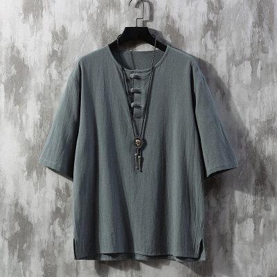 夏季中国风大码纯色棉麻圆领盘扣五分袖宽松T恤男4031-YM905-P35