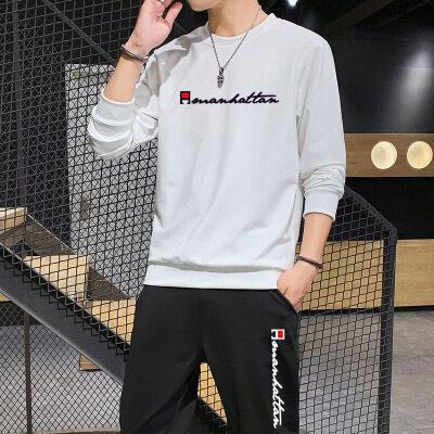 圆领运动套装男2020秋季新款男士韩版修身薄款印花百搭休闲两件套