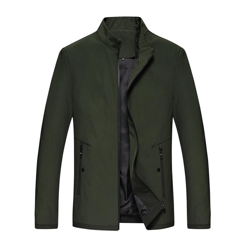 春秋季新款中年中老年男夹克修身款柔软舒适爸爸装休闲立领男夹克