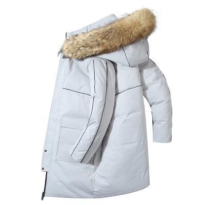 2020新款羽绒服男中长款潮牌工装时尚连帽外套冬装帅保暖大衣