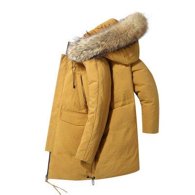羽绒服男中长款冬季潮流连帽外套情侣装冬季新款加厚保暖大衣服
