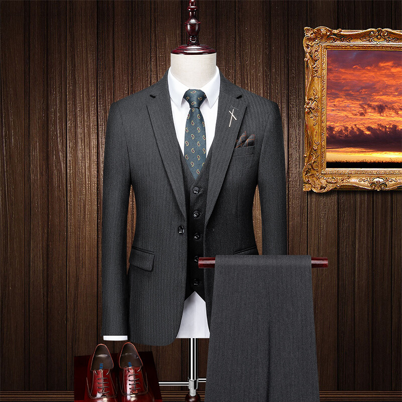 SJT96055西服套装男士三件套潮流韩版修身商务休闲小西装外套新郎结婚礼服
