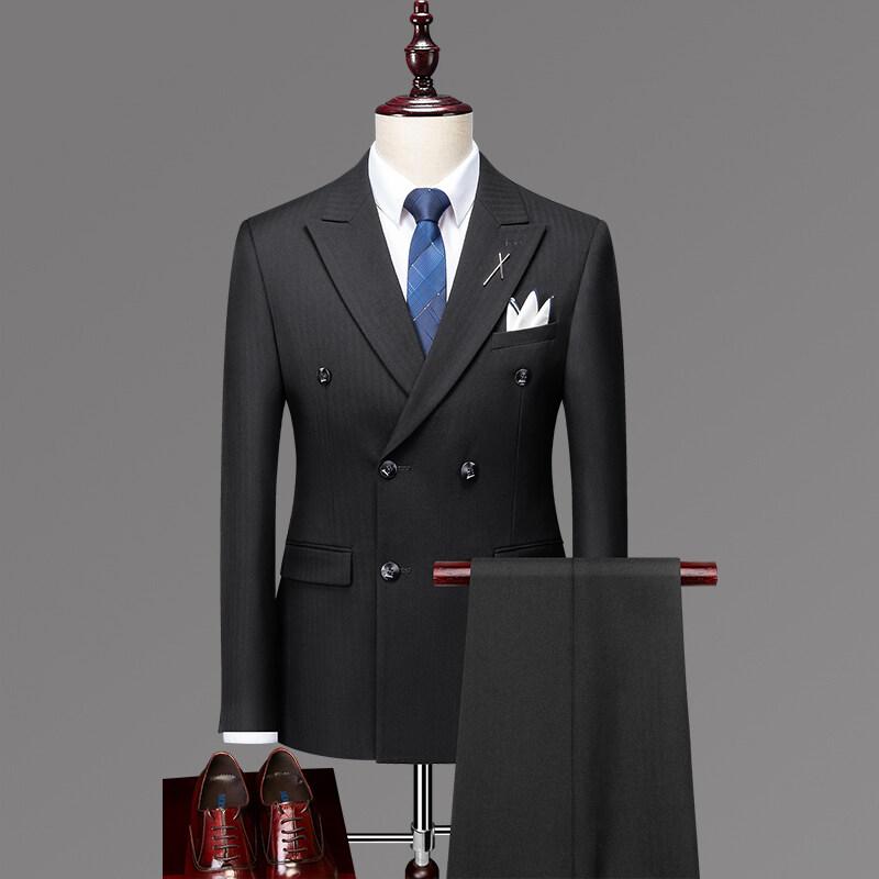 SJT96056休闲西服套装男士三件套韩版修身新郎结婚礼服潮英伦双排扣小西装