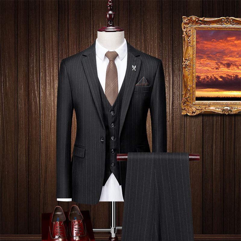 SJT96095西服套装男条纹商务正装韩版潮流修身帅气新郎结婚礼服西装三件套