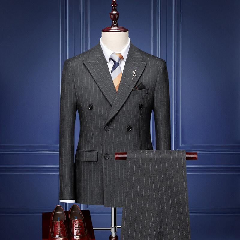 SJT98308新郎西服套装男士结婚礼服韩版修身条纹双排扣西装男套装四季正装