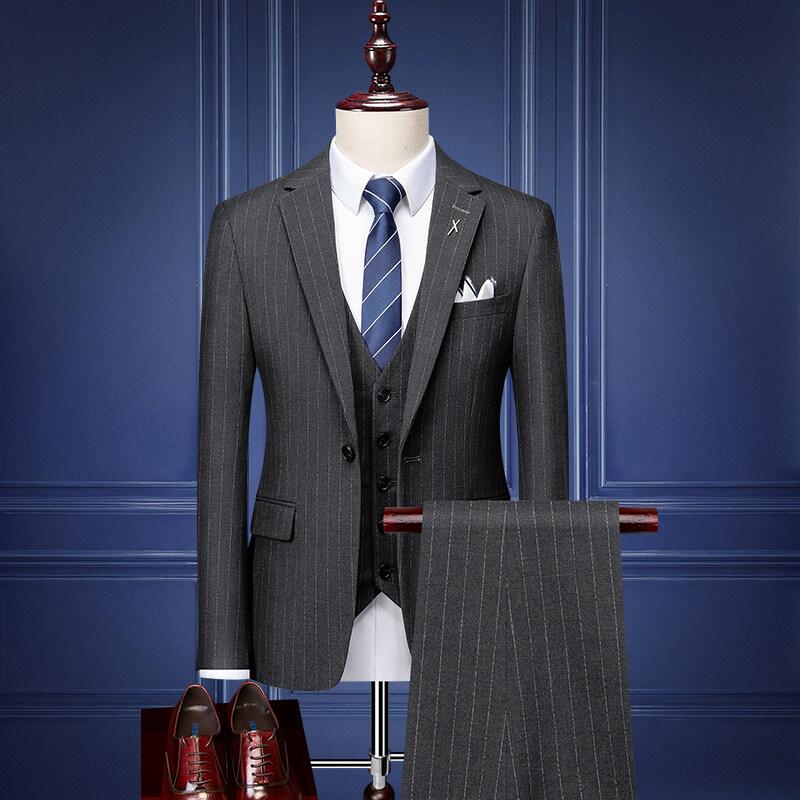 SJT98309西服套装男条纹商务正装韩版潮流修身帅气新郎结婚礼服西装三件套