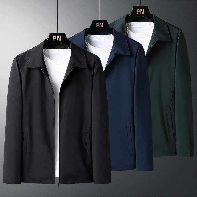 6752020新款秋装外套中老年男装休闲翻领爆款夹克M-4XL