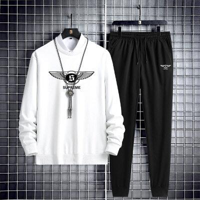 运动套装男春秋冬季青少年长袖休闲跑步运动服卫衣长裤宽松两件套
