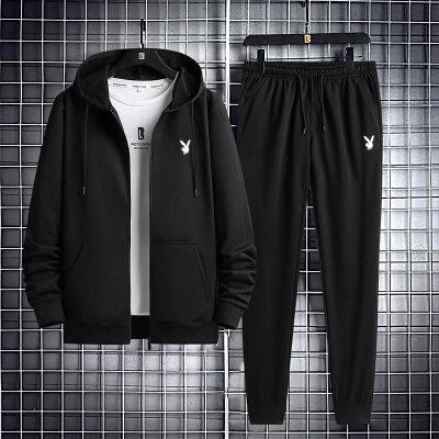 户外休闲卫衣2020秋季新款男士男装时尚黑色开衫卫衣青年纯色外套