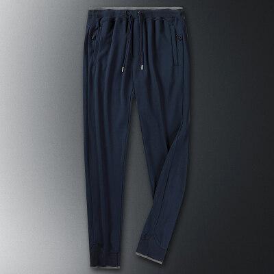 休闲裤男士松紧绳纯棉长裤针织纯棉运动裤男长裤纯色松紧裤子
