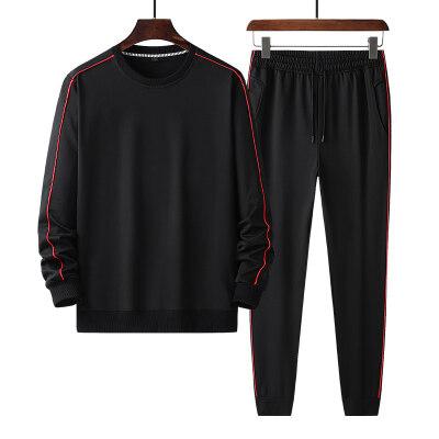 休闲运动套装男圆领套头大码卫衣两件套春秋季薄款休闲青年运动服