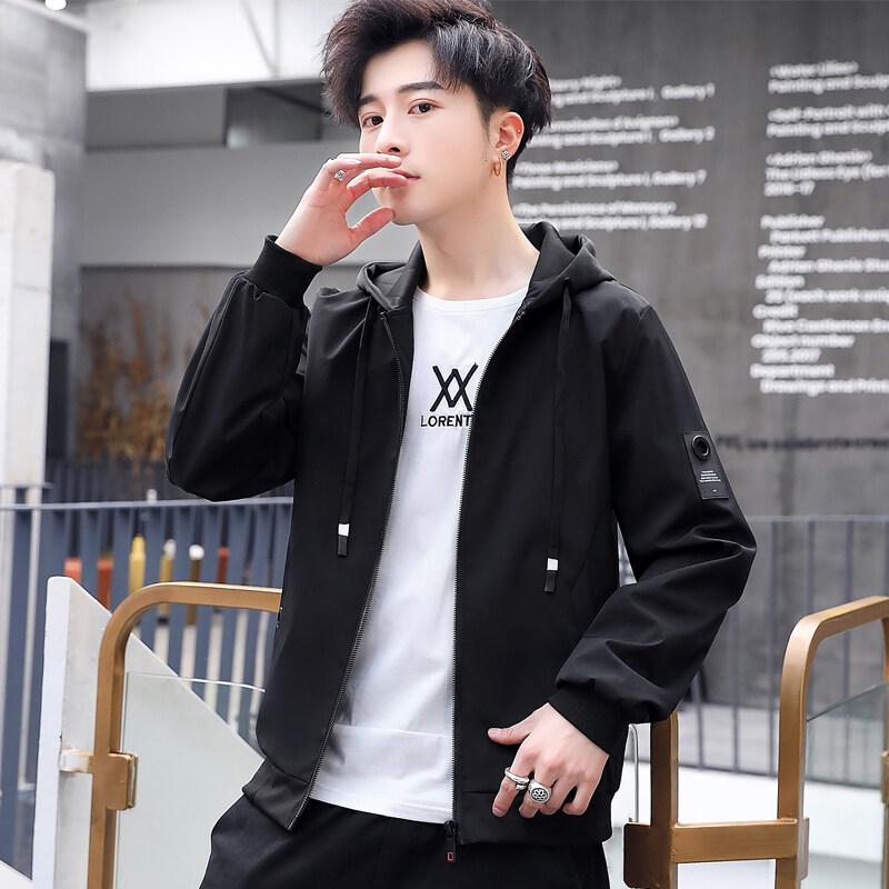 爆款夹克春秋季2020新款男士连帽修身外套韩版潮流帅气男装