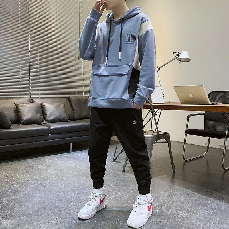 2051-716春秋新款时尚韩版工装潮流休闲卫衣套装两件套