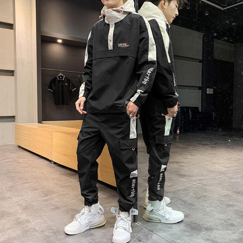 9129-702秋季男士2020新款帅气夹克套头男装潮流休闲运动套装